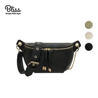【Bliss BKK】時尚皮革鍊條腰包 腰包 斜背包 胸包 肩背包 簡約質感(3色可選)