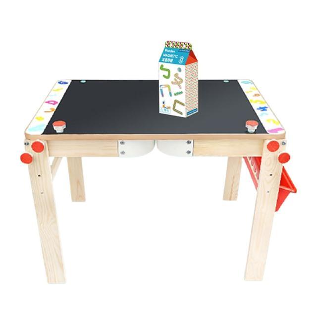 【Top Bright】二合一畫板書桌&木質磁鐵注音符號(讓孩子大顯身手玩創意的學習工具)