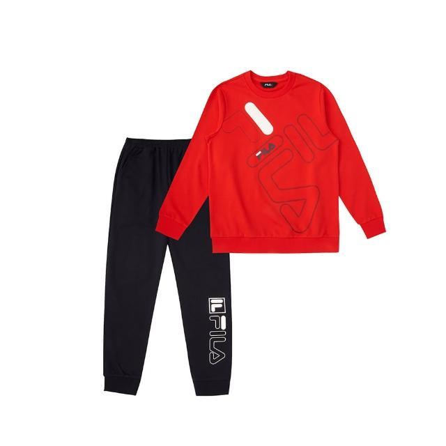 【FILA】KIDS 男童 女童 褲子 長T T恤  童長袖針織套裝-共5色任選(1WTV-8905+5WTV-8910)