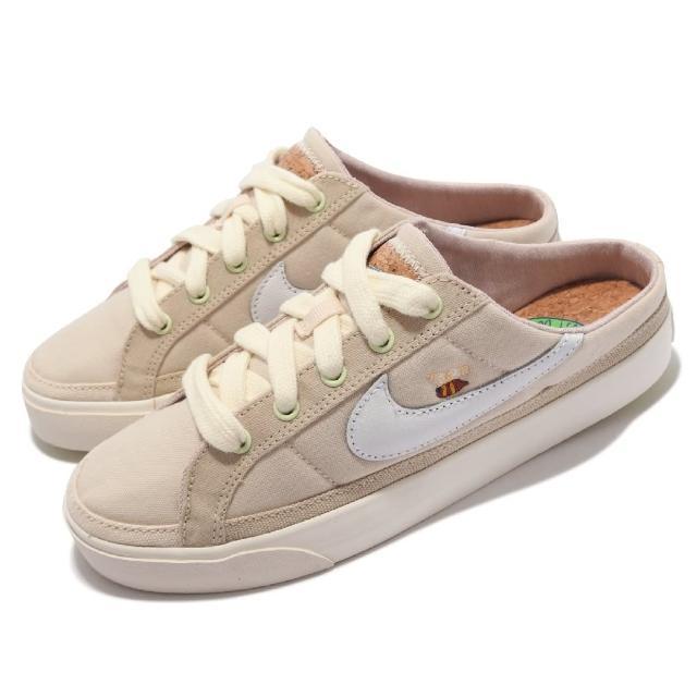 【NIKE 耐吉】休閒鞋 Court Legacy Mule 女鞋 半包拖 套腳 輕便 小蜜蜂 軟木鞋墊 帆布 米白(DM7190-211)
