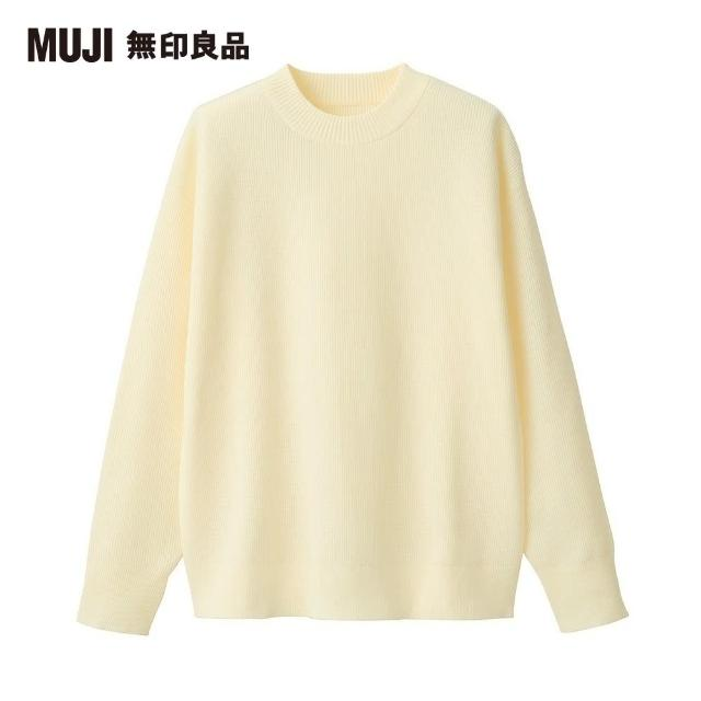 【MUJI 無印良品】男女適用/聚酯纖維型態安定圓領寬版針織衫(共4色)