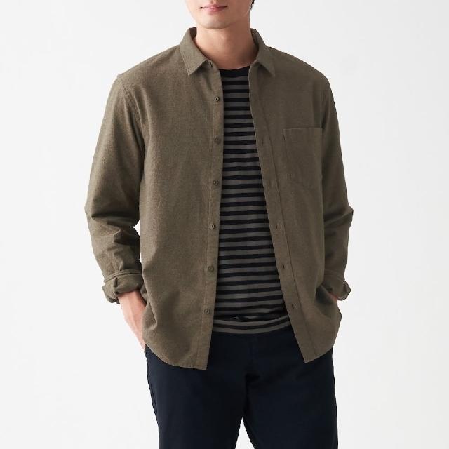 【MUJI 無印良品】男有機棉法蘭絨襯衫(共8色)