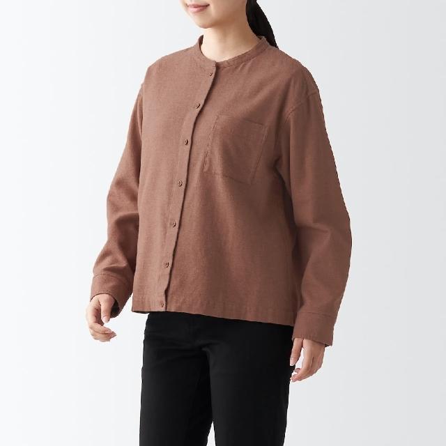 【MUJI 無印良品】女有機棉法蘭絨立領襯衫(共8色)